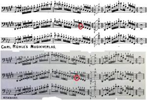 Werner 教則本短音階の比較(上はオリジナル、下が東京楽譜出版社)